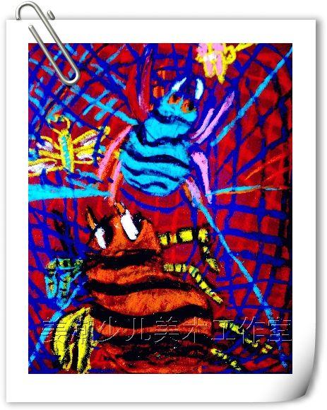 儿童创意油彩粉笔画粉-----大蜘蛛 竖