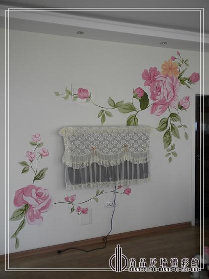 哈尔滨手绘墙 尚品居作品—富贵牡丹
