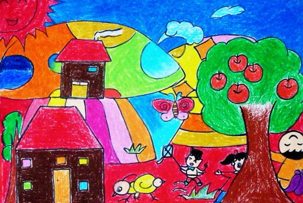 """""""家乡美""""学生绘画获得一等奖的作品展(一)图片"""