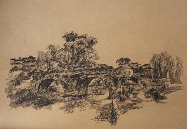 带08美2,4班到安徽屏山写生,学生画风景水粉,我也画了几张速写,是画在