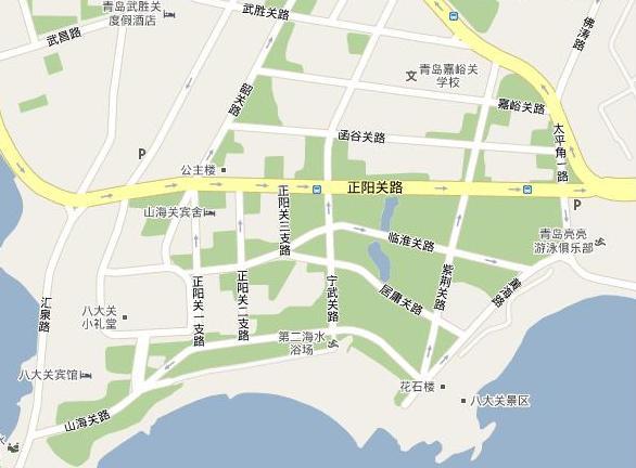 青岛八大关地图(此图片来自网络)