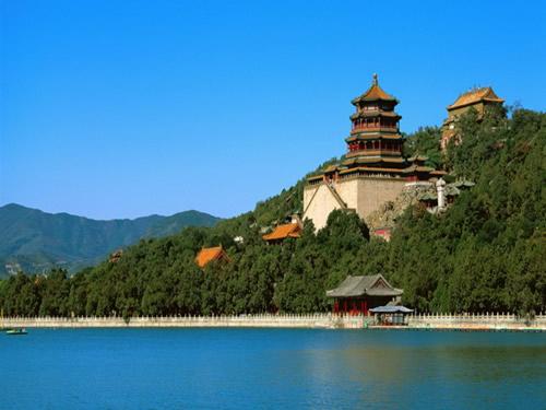 向东远眺所看到的美丽景色;三写昆明湖的景色:分别介绍了长堤,湖心岛