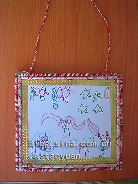 一次性筷子做的民族風格環保畫框相框