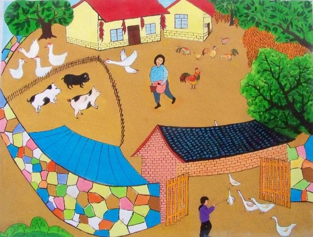 应政府邀请为当地新农村建设制作壁画图片