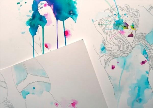 超超简单水粉画作品-性感水彩画