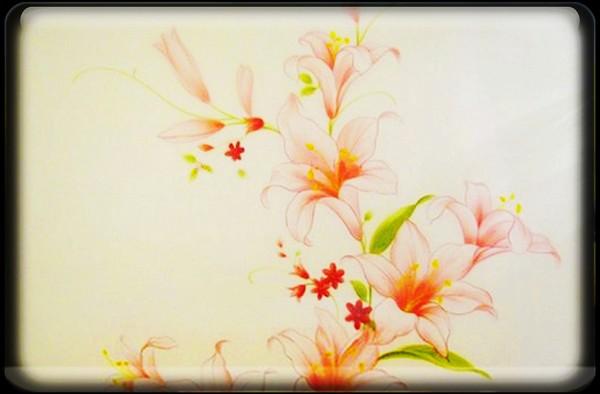 电视墙,粉百合的爱情-太原手绘墙 大唐异彩 墙绘工作