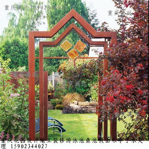 重慶高達花園設計施工裝修游泳池魚池假山木亭子水
