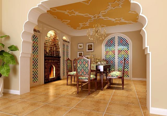 餐厅空间与门厅一体考虑,把餐桌背景考虑既实用又能把卧室与