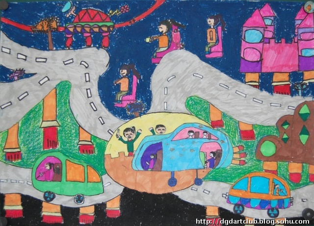 美丽的太空生活 王雨卉 女 9岁 四.4班-作品欣赏 北京市科幻画大赛 我