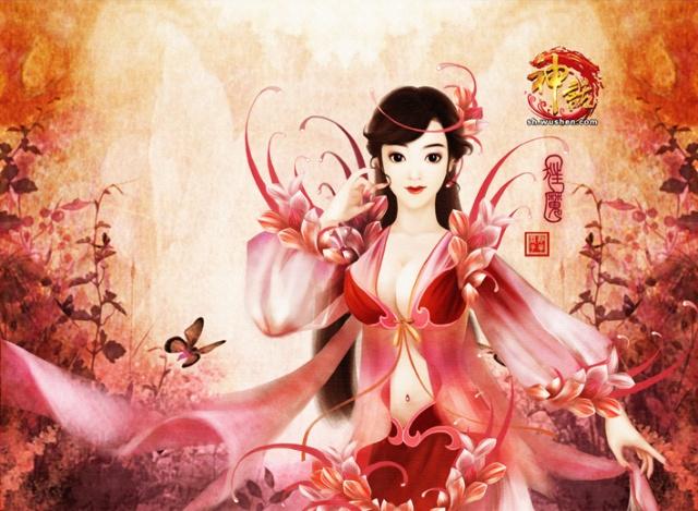 手绘古典美女 助阵《神话》正式公测