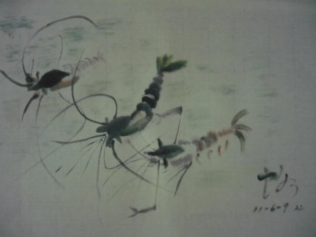 水墨画死虾-我的国画